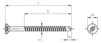 SST CSK head Wood screws, drilling-point