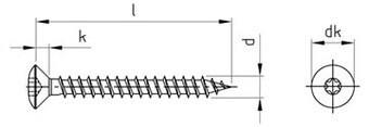 SST Double raised countersunk head timber screws, Full thread