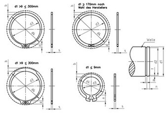 SST Retaining rings for shafts